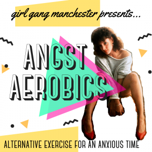 Angst Aerobics ad in an 80's style with a woman dressed in 80's gym wear.