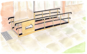 a drawing of what the ramp at the front of the space will look like